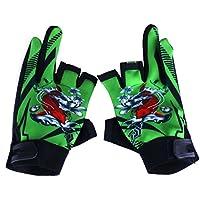Providethebest Pesca deportiva de cuero medio dedo guantes de equitación transpirable antideslizante que compite con guante de ciclo al aire libre de las manoplas Verde