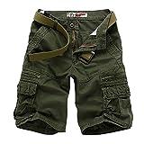 Yonglan Herren Reine Farbe Cargo Shorts Casual Kurze Hose Baumwolle mit Multi-Taschen Verschleißfeste Arbeitshose Gerade Shorts Armee-Grün 31