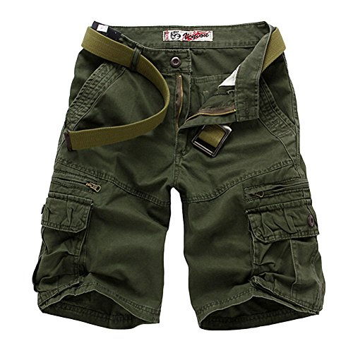 Yonglan uomo tinta unita pantaloncini corti bermuda cargo short con tasconi laterali pantaloncini da allenamento militari esercito verde 36