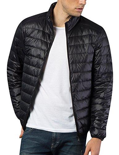 BELLOO Herren Ultraleichte dünne Daunenjacke Wattierte Jacke mit Stehkragen 4 Farben, Gr. XL bis 4XL Schwarz