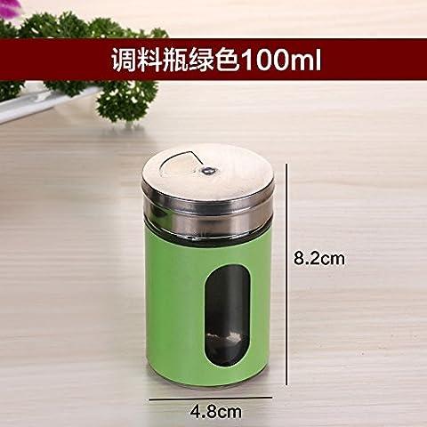 Bottiglia in vetro Aroma di rotazione cucina porta salsa barbecue apposito serbatoio in acciaio inox Kit serbatoio aromatizzanti sale e pepe bottiglia , verde all'aperto