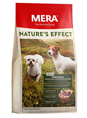 MERA NATURE´S EFFECT Mini, Getreidefreies Hundefutter, Premium Trockenfutter für kleine Hunde mit Wildschwein, Roter Bete, Pastinaken und Kartoffeln