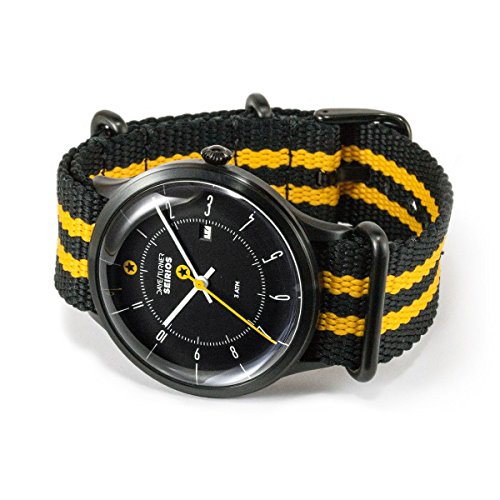 DAYE / TURNER Men's Wrist Watch Star SEIRIOS Stainless Steel Body Designer Watch Nato Nylon Strap Black/Yellow Dial Black Seiko Quartz Movement High-quality Mineral glass