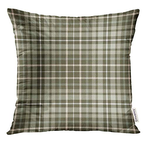Throw Pillow Cover Gray Border Tartan Plaid Pattern Traditional Checker All Over for Digital Green Check Decorative Pillow Case Home Decor Square 18x18 Inches Pillowcase Pink Plaid Checker