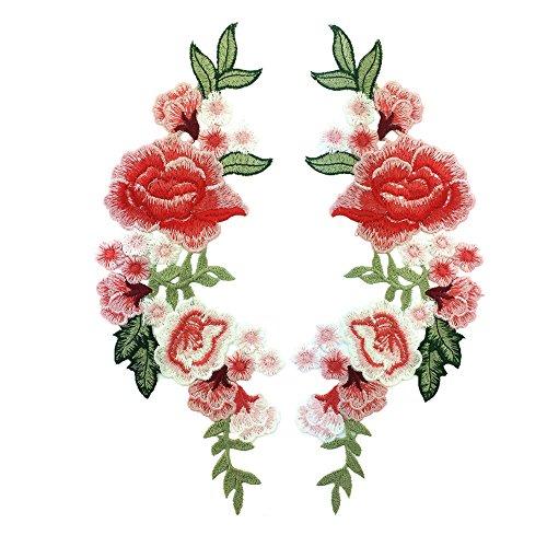 (Toruiwa 2X Patches Bestickte Aufnäher Blume Patches Nähen Patch Sticker Applique Badge für Kleid Hut Schuhe Jeans DIY Kostüm Schmücken (B))