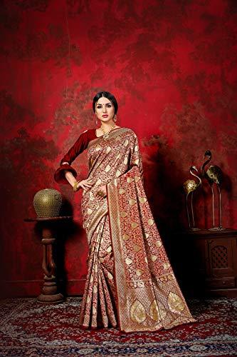 Pehnavaa Women Banarasi art silk Maroon saree