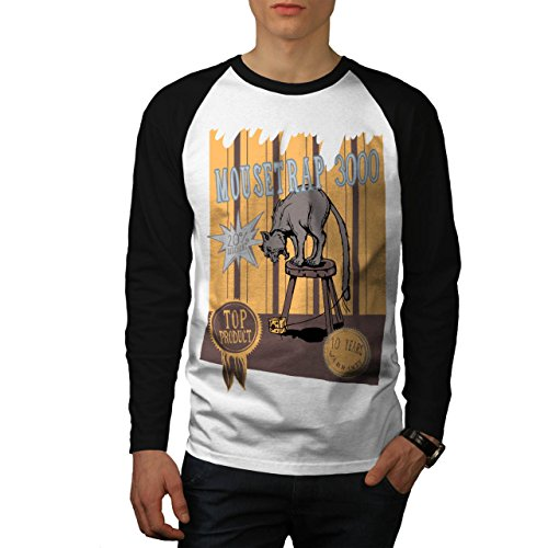 mouse-trap-cat-bait-cheese-lure-men-new-white-black-sleeves-m-baseball-ls-t-shirt-wellcoda