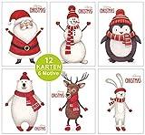ArtUp.de 12 Weihnachtskarten Set mit 6 verschiedenen lustigen Motiven im Postkartenformat - Rückseite mit viel Platz für Grüße zu Weihnachten