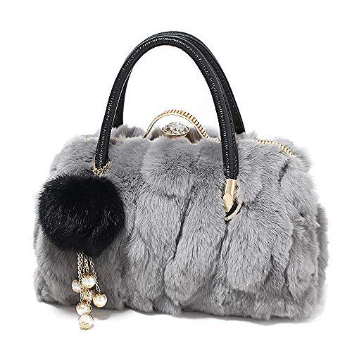 Yanhtso la versione femminile coreana della borsa pelosa ha lanciato la borsa mobile di modo dell'erba della pelliccia selvaggia del coniglio (colore : gray b)