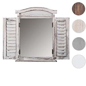Miroir avec volets spiegelfenster 53 x 42 x 5 cm, style vintage/blanc vieilli