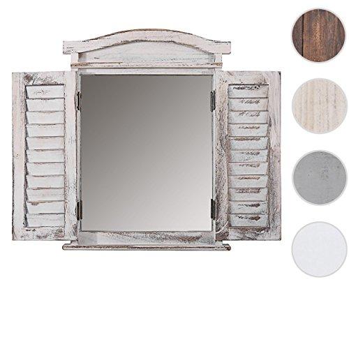Mendler Wandspiegel Spiegelfenster mit Fensterläden 53x42x5cm ~ weiß shabby