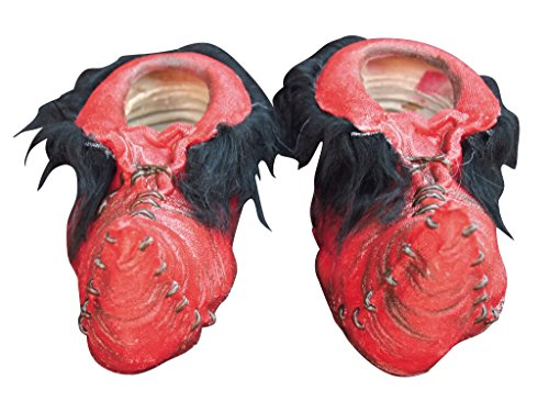 GHOULISH Halloween Kostüm - Kobold Schuhe - Latex Mokassins mit Fellimitat Grau - Rot