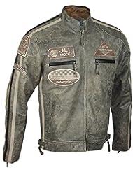Homme Desert Veste motard en cuir véritable Vintage taille S-6XL Effet urbain rétro
