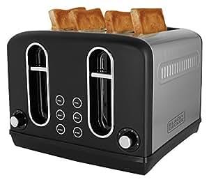 Black + Decker BXTO0401IN 2300-Watt 4 Slice Pop-up Toaster (Grey)