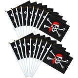Elcoho 50 Stück Piratenstab Fahne Jolly Roger Stick Flagge für Piraten Tag oder Halloween Dekoration, 21 x 14 cm