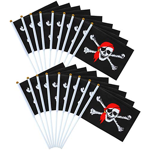 Elcoho 50 Stück Piratenstab Fahne Jolly Roger Stick Flagge für Piraten Tag oder Halloween Dekoration, 21 x 14 cm