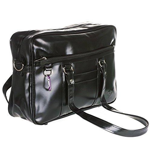 CoolChange japanische Schultasche für Oberschüler aus PU-Leder, Schwarz