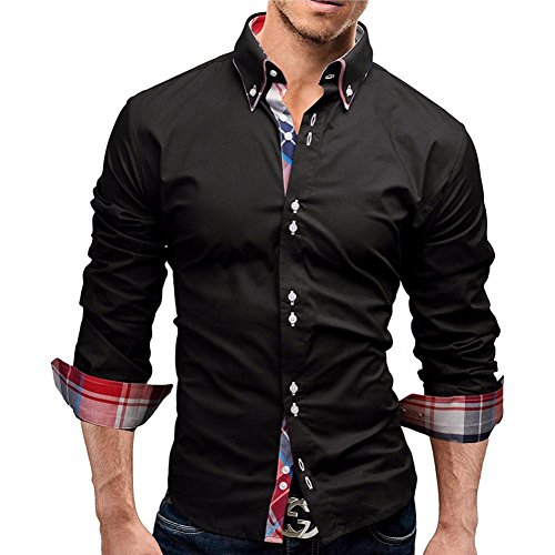 Herren Hemd Longra Herren Herbst Plaid Langarm Shirts Männliche lange Ärmel Hemden Herrenhemd Langarm Shirt Männer Slim Fit Freizeithemd Businesshemd (2XL, Black)