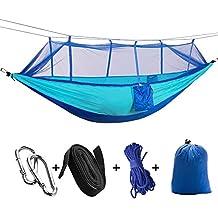 Sheny ultraligera hamaca equipo de paracaídas para al aire libre / camping, capacidad de carga de hasta 200 kg, 260 cm * 140 cm azul (Tipo2con mosquitero)