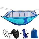 TAKEBEST Outdoor Hängematte mit Moskitonetz, Ultra-Light Hängematte Parachute Material für Outdoor/Camping/Wandern/Survival, Belastbarkeit bis 200 kg (260cm*140cm) Himmelblau+Blau