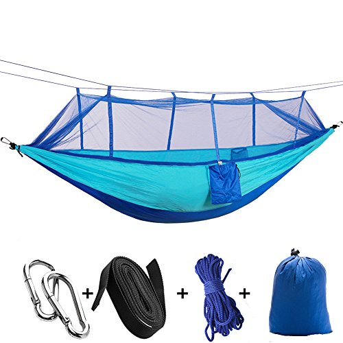 camping hammock fyhap double portable nylon hammock lightweight parachute fabric with mosquito net for outdoor hiking beach garden travel use