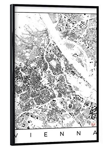 artboxONE Poster mit schwarzem Rahmen 30x20 cm Städte Wien, Österreich - Schwarzplan - Bild Karte Stadt Straße