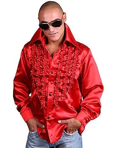 Schlagerhemd rot (XXL, rot) (80er Ära Kostüme)