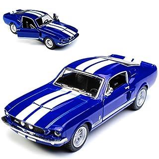 alles-meine.de GmbH Ford Mustang Shelby GT-500 1967 I 2. Generation Coupe Blau mit weißen Streifen ca 1/43 1/36-1/46 Kinsmart Modell Auto mit individiuellem Wunschkennzeichen
