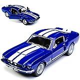 Kinsmart Ford Mustang Shelby GT-500 1967 I 2. Generation Coupe Blau mit weißen Streifen ca 1/43 1/36-1/46 Modell Auto mit individiuellem Wunschkennzeichen