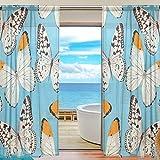 BONIPE Vorhang im Vintage-Stil, mit Schmetterlingen, aus Voile, Tüll, für Küche, Schlafzimmer, Wohnzimmer, Wohnzimmer, Dekoration, 139,7 x 198 cm, 2 Paneele, Polyester, Multi, 55x84x2(in)