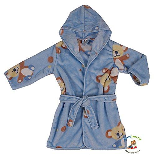 BlueberryShop Printed Luxurious Hooded Soft Warm and Fluffy Velour Bathrobe, Robe, Dressing Gowns 1-7 Yrs ( 1-7Yrs ) ( 1 - 2 Yrs ) Azul