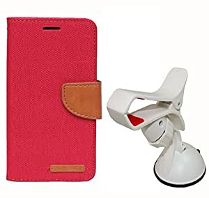 Aart Fancy Wallet Dairy Jeans Flip Case Cover for HTC826 (Black) + Mobile Holder Mount Bracket Holder Stand 360 Degree Rotating (WHITE) by Aart Store