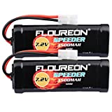 FLOUREON 7.2V 3500mAh NiMH 6 Cell Rechargeable RC Battery with Tamiya Plug for Popular Standard RC Cars including Traxxas, LOSI, Associated, HPI, Tamiya, Kyosho (2pack)