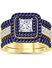 Silvernshine Enhancer Ring Guard & Engagement Ring Set Yellow Gold Plated Blue SapphireSim Diamond