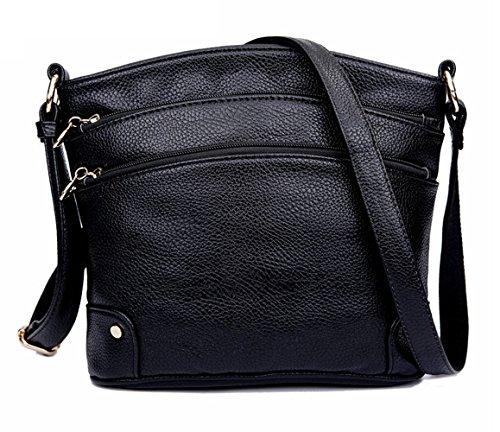 Tibes Mode Pu Leder Crossbody Tasche Frauen Messenger Bag Mini Schultertaschen mit vielen Pockets Schwarz