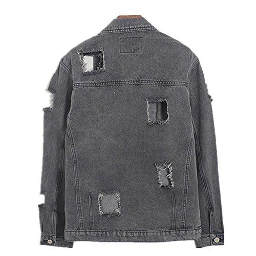 SHISHANG Lady cowboy veste chemise à manches longues denim veste solitaire inélastique section courte caverne rétro rétro noir bleu Black
