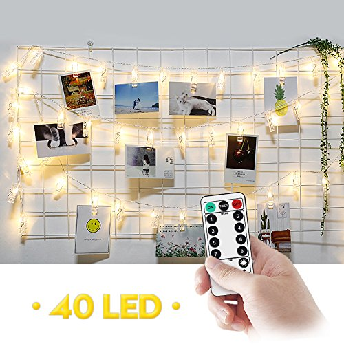 Amteker LED Photo Clip String Lights with Remote & Timer - 40 Photo Clips Battery Powered 5M Picture Lights for Decoration Hanging Photo, Notes, Artwork (Warm White)