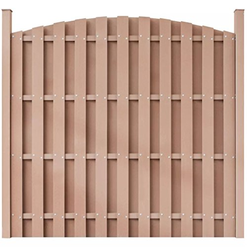 XuzhEU WPC Zaun Panel Rund Braun verzinkt Drahtgitter Zaun für Backyard Border Sichtschutz Zaunelemente