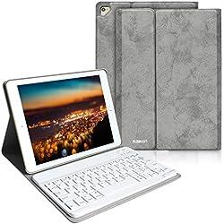 BAIBAO Coque Clavier pour iPad 2018, Clavier Bluetooth Français pour iPad Air 2/2018/2017 Housse avec Stylet-Fente et Paquet de Carte, Clavier Français,Étui en Cuir Amovible pour iPad (Gris)