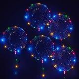 MKT 18 Zoll Balloons mit LED Lichterkette, Blinkende Bunte 3M Lichterkette für Dekorationen von Partys Feiern (5 Ballon im Pack)