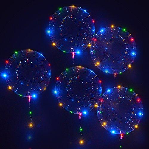 Globos Transparentes Led iluminados Bobo Decoración para Fiesta Boda Cumpleaños Navidad (5 Piezas)
