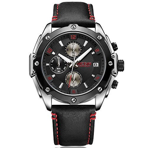 Megir Sports Montre chronographe pour Homme avec Bracelet Cuir Noir Rouge Chiffres étanche Montre-Bracelet