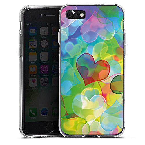 Apple iPhone X Silikon Hülle Case Schutzhülle Love Plexi Bunt Herz Silikon Case transparent