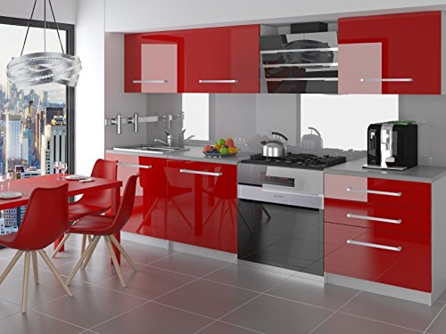Neu komplette küche kompakto ii 180 cm hochglanz verschiedene farbkombinationen rot