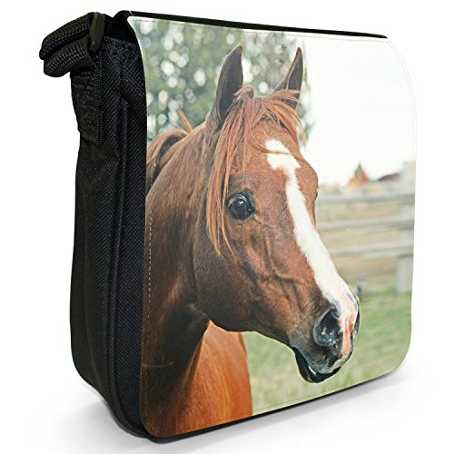 Elegante cavallo marrone piccolo nero Tela Borsa a tracolla, taglia S Portrait of Brown Horse