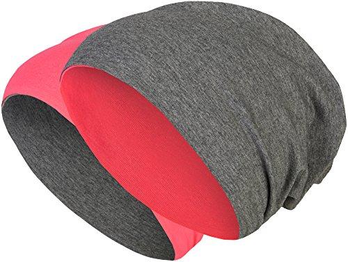 Baumwoll Long Beanie (2 in 1 Wendemütze - Reversible Slouch Long Beanie Jersey Baumwolle elastisch Unisex Herren Damen Mütze Heather in 24 (8) (Dark Grey/Pink))
