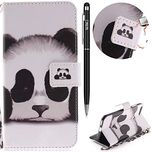 Huawei Y6 2018 Hülle,Huawei Y6 2018 Handyhülle Leder,WIWJ Handyhülle Wallet Case[Farbige Lanyard lackierte Halterung Leder Case]Schutzhüllen für Huawei Y6 2018-Panda
