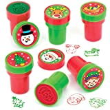 Baker Ross Selbstfärbende Stempel Weihnachten für Kinder – Bastelmaterial Zum kreativen Gestalten und Spielen für Kinder zu Weihnachten (10 Stück)