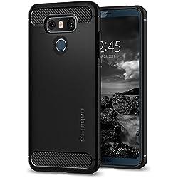Spigen Coque LG G6, [Rugged Armor] Resistant Anti Choc [Noir] Silicone, Souple, Protection Robuste, Finition Matte, Housse Etui Coque LG G6, (A21CS21230)