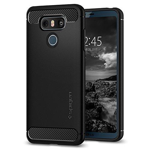 Spigen LG G6 Hülle, [Rugged Armor] Karbon Look [Schwarz] Elastisch Stylisch Soft Flex TPU Silikon Handyhülle Schutz vor Stürzen und Stößen Schutzhülle für LG G6 Case Cover Black (A21CS21230)